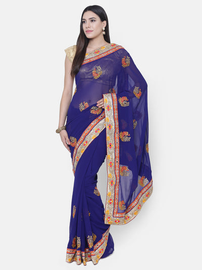 Chhabra 555 Royal Blue Georgette Saree With Multicolor Resham Embroidery, Peacock motifs and crystal embellishments