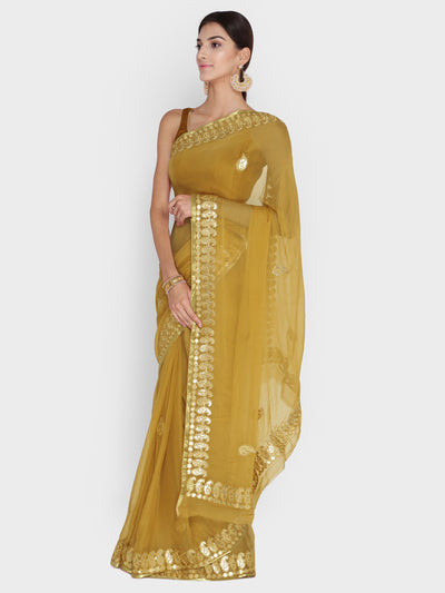 Chhabra 555 Mustard Georgette Saree With Gotta Patti & Resham Embroidery and Paisley motifs