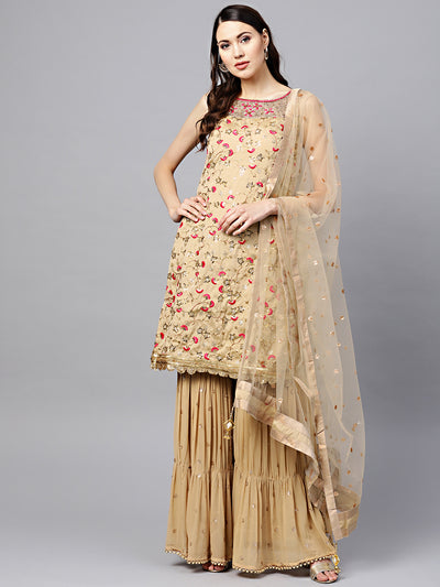 Chhabra 555 Made to Measure Beige Kurta Sharara Set with Floral Zari Sequin Embroidery