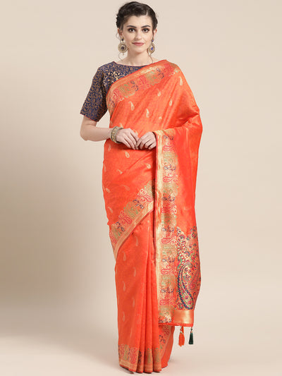 Chhabra 555 Kanjiwaram Orange Silk saree with Meenakari and Zari weaving and tassles