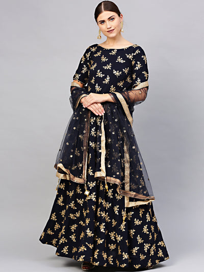 Chhabra 555 Made to Measure Georgette Anarkali Kurta Gown with Sequin Zari Embroidery and dupatta