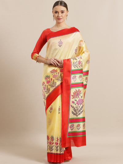 Chhabra 555 Bhagalpuri Silk printed Saree with Floral Digital Design and Contrast Fuchsia Blouse