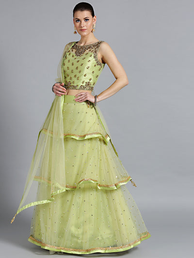 Chhabra 555 Green Net Crop top Made-To-Measure Lehenga With Pearl, Sequin, Cut-dana embellishments