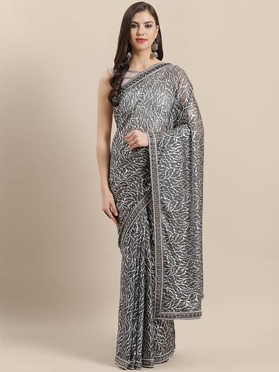 Chhabra 555 Lycra blend saree with silver Zari leaf motifs and beads stones