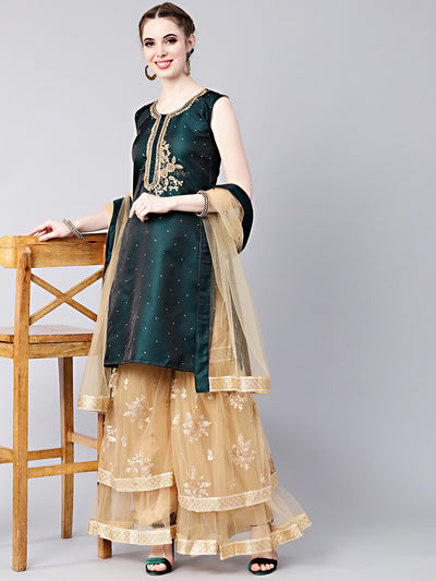 Chhabra 555 Made-to-measure Kurta Sharara Set with Crystal Embellishments and Embroidered Sharara