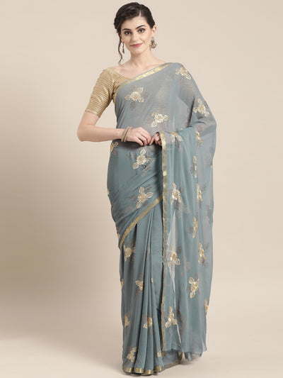 Chhabra 555 Chiffon Resham Embroidered Saree with Zari Woven Satin border and crystals
