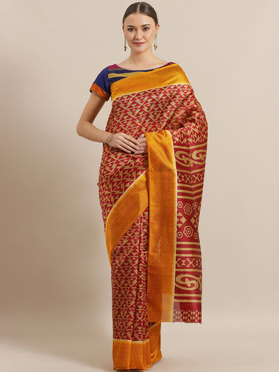 Chhabra 555 Ikat Inspired Maroon Bhagalpuri Silk Digital Print Saree with Colorblock Mustard Border