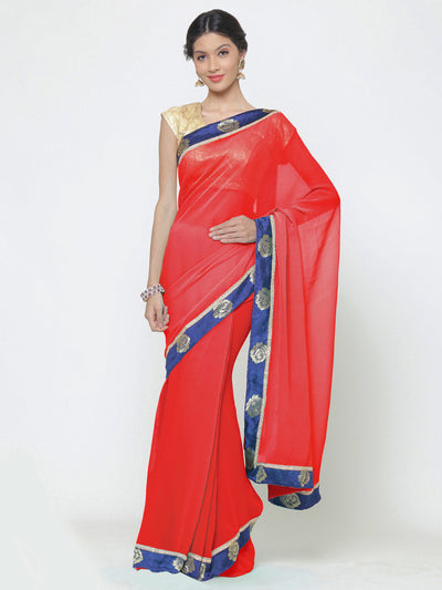 Chhabra 555 Red Georgette Saree With Contrast Blue Floral Woven border and blouse
