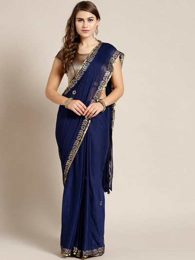 Chhabra 555 Navy Blue Chiffon Hand-dyed saree with Gota patti embroidered border