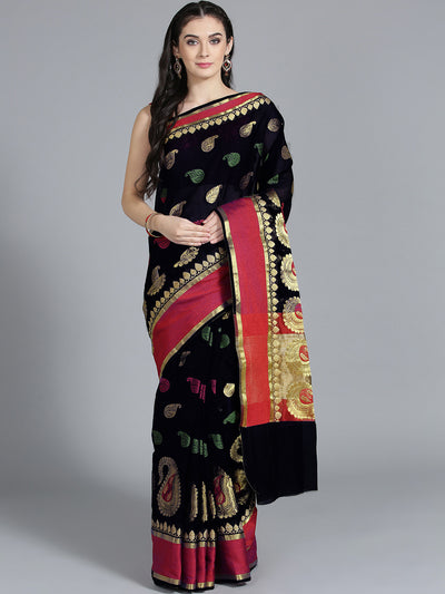 Chhabra 555 Silk Black with Zari embroidery and Beautiful Paisley Pattern Design Saree