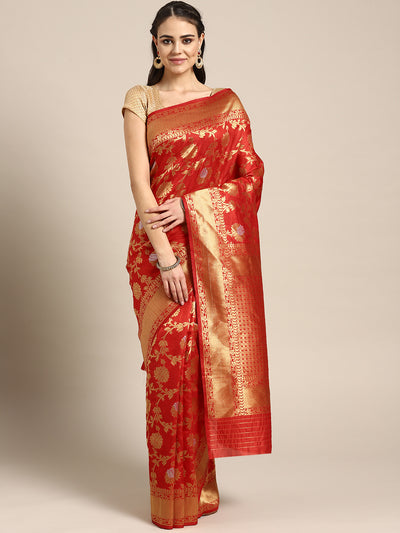 Chhabra 555 Bridal Mysore silk saree with Meenakari weaving in a floral pattern and interplay of silver and gold zari