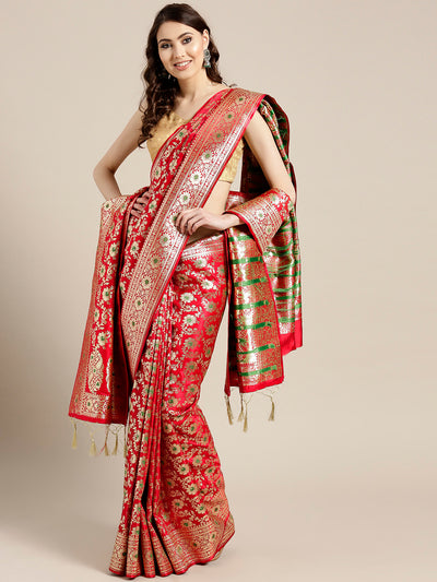 Chhabra 555 Red Banarasi Handloom Silk Saree with Floral Meenakari pattern and Banarasi Dupatta