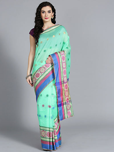 Chhabra 555 Sea Green Cotton Silk Saree with kota type and beautiful Floral Pattern and Handloom saree