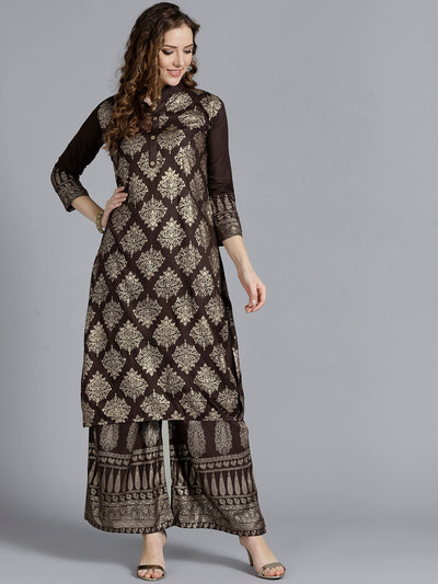 Chhabra 555 Brown Kurta Set with gold foil print in traditional mughal motifs and matching pants
