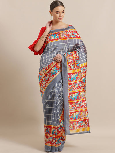 Chhabra 555 Checked Bhagalpuri Silk printed Saree with Peacock and Elephant animal Digital Patterns