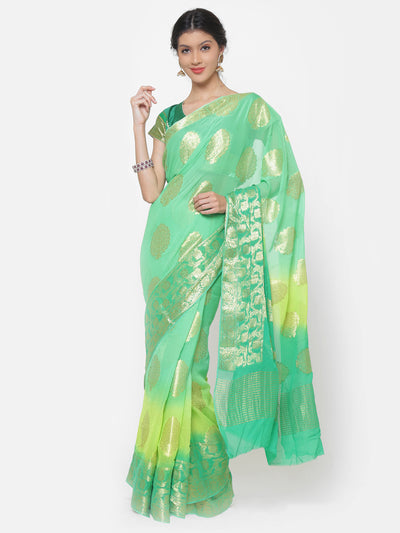 Chhabra 555 Mysore Georgette Teal to Green ombre dyed saree with floral weaved motifs