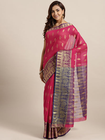 Chhabra 555 Pink Banarasi Handloom Silk Saree woven with figure motifs and bridal scenes