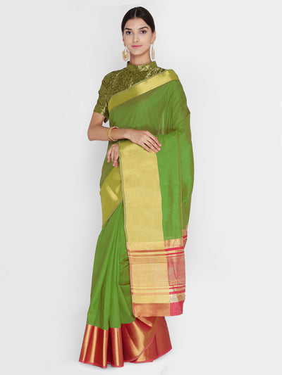 Chhabra 555 Green & Coral Woven Design Banarasi Silk Saree