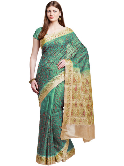 Chhabra 555 Green Embroidered Tussar Silk Party Wear Saree