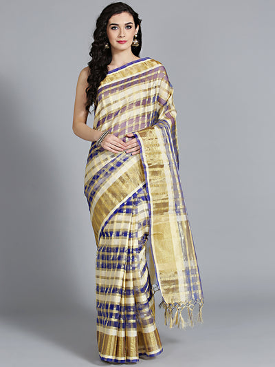 Chhabra 555 Checked Blue Chanderi SIlk saree with Gharchola inspired Geometric pattern and Zari Resham Weaving