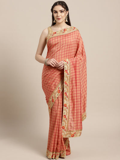 Chhabra 555 Crepe Checked pattern Saree with Zari Resham Embroidered border and crystal embellishments