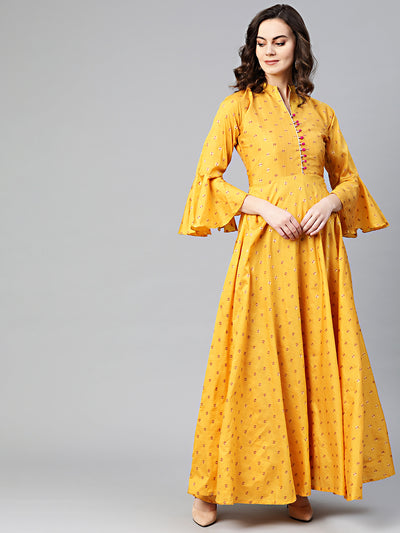 Chhabra 555 Made to Measure Anarkali Printed Kurta Dress with Zari Resham Weaving and bell sleeves