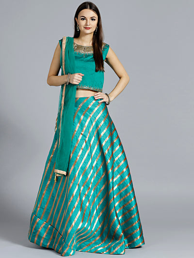 Chhabra 555 Teal Blue Contemporary Striped Lehenga with Kundan and Zircon Hand Embroidered matching Blouse