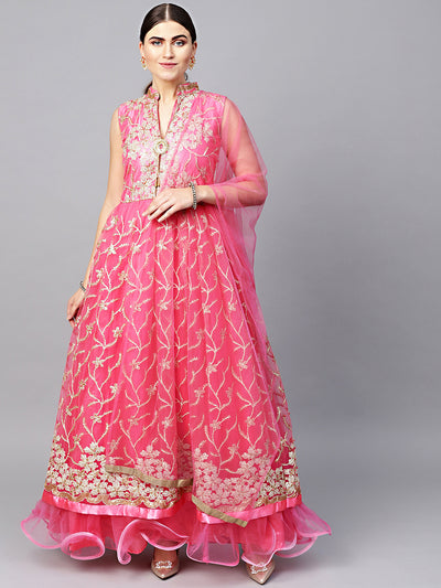 Chhabra 555 Made to Measure Net Anarkali Cocktail Gown with Resham Zari Embroidery and dupatta