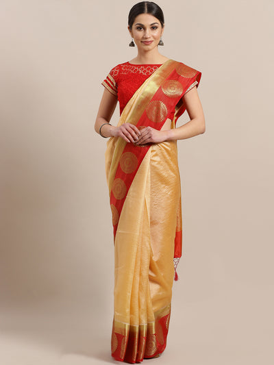 Chhabra 555 Banarasi Jamdani inspired saree with Zari broad contrast border