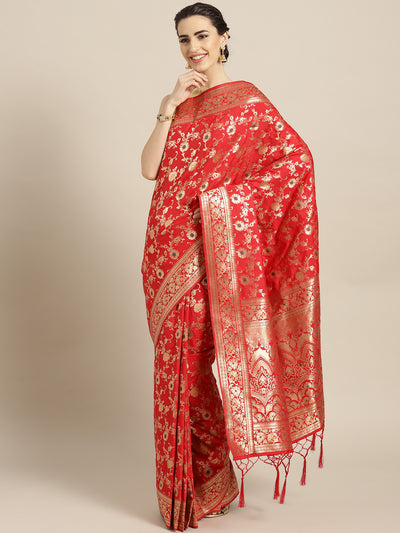 Chhabra 555 Red Banarasi Bridal Handloom Silk Saree with Floral Meenakari pattern and Jhalar