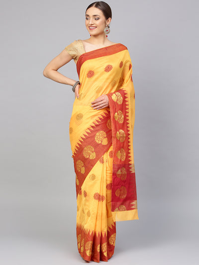 Chhabra 555 Yellow Chanderi Silk Handloom, Hand Woven,Floral Banarasi Tample Zari Weav Border Saree