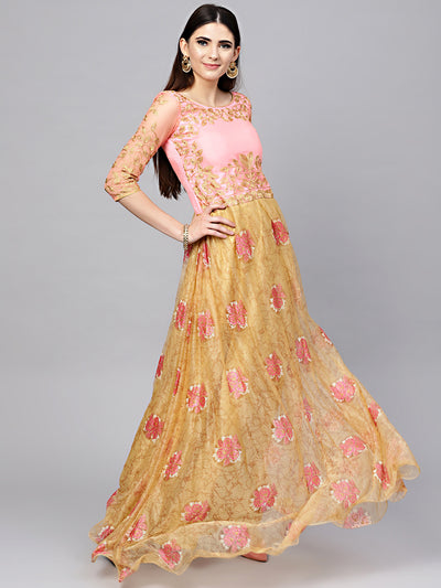 Chhabra 555 Pink Gold Embellished Gown with Zari, Resham Embroidery and Foild print