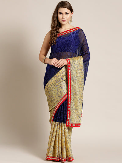 Chhabra 555 Lycra Panelled Blue Gold saree with Crystal Embellished border and metallic foil print