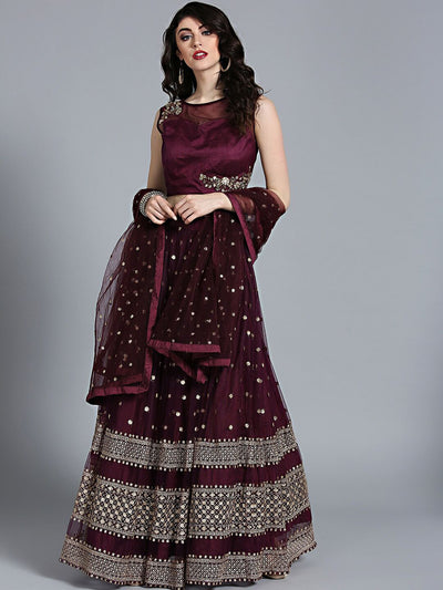 Chhabra 555 Purple Crop top Made-to-measure Lehenga with Zari and Sequin Embroidery and Jaal Dupatta