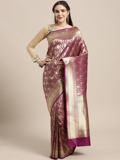 Chhabra 555 Kanjiwaram inspired silk saree with intricate zari weaving in a contemporary ethnic pattern
