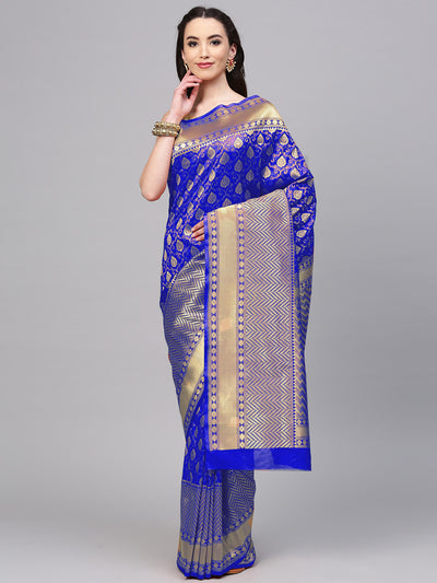 Chhabra 555 Blue Banarasi Handloom Silk Saree with intricate zari woven floral motifs