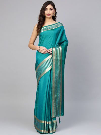 Chhabra 555 Turquoise Blue Chanderi Silk Handloom, Hand Woven,Floral, Zari Weav Border Saree with Contrast Brocade Blouse
