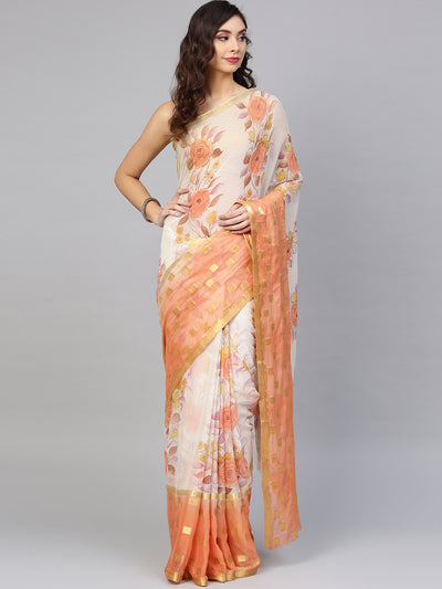 Chhabra 555 Peach and Off White Chiffon Woven, Printed, Ombre, Crystal With Saree