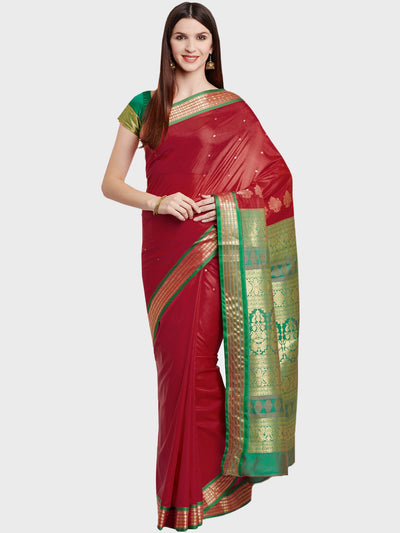 Chhabra 555 Red Handloom Zari Banarasi Silk Saree with contrast Green blouse and border