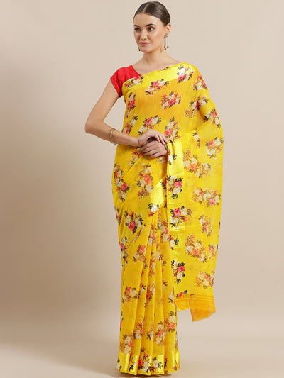Chhabra 555 Yellow Jute Cotton Silk saree with Floral Digital print and Satin Broad Border