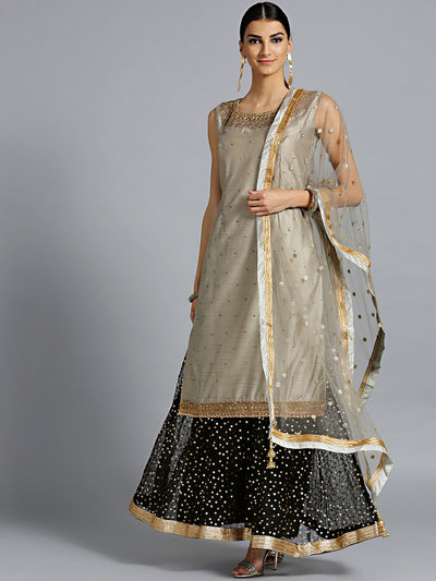 Chhabra 555 Made-to-Measure Grey jewelled neckline kurta with Black embroidered pallazo and dupatta
