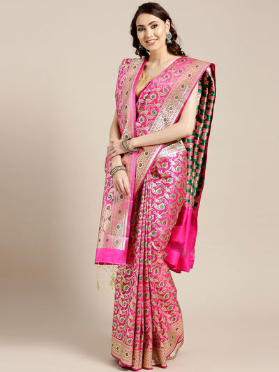 Chhabra 555 Magenta Banarasi Handloom Silk Saree with Floral Meenakari pattern and Banarasi Dupatta