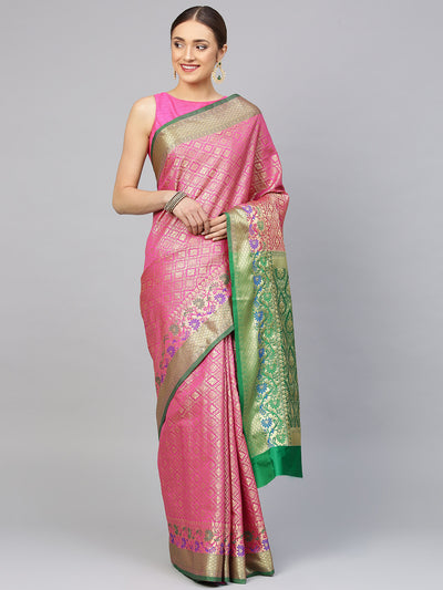 Chhabra 555 Magenta Chanderi Silk saree with handloom weaving floral patterns and a Meenakari border