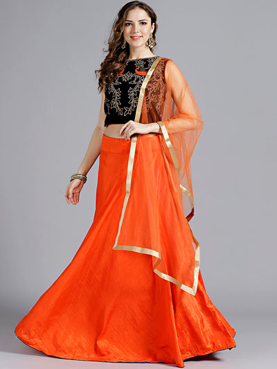 Chhabra 555 Orange and Blue Silk Embellished Crop top Lehanga With Swarovski and thread Work and Heavy work in velvet choli and tassels with Dupatta