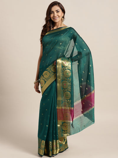 Chhabra 555 Teal Chanderi Silk saree with Zari and Meenakari weaving in a floral pattern