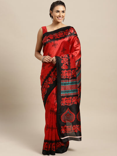 Chhabra 555 Red and Black Bhagalpuri Printed Art Silk Saree