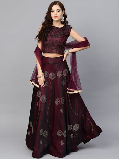 Chhabra 555 Made to Measure Burgundy Silk Croptop Lehenga with Floral Foil Print and Embllishments