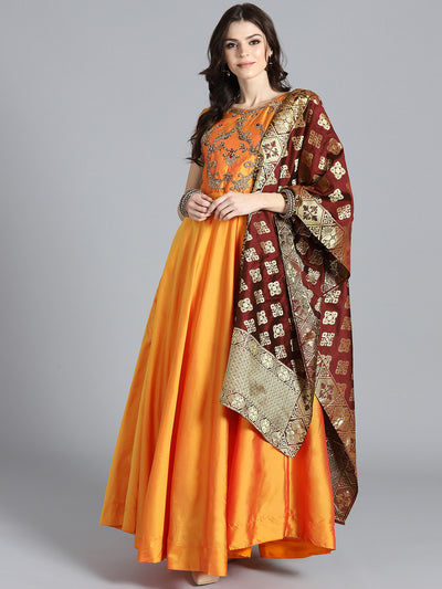 Chhabra 555 Orange and Maroon Embroidered Flared Suit with Zari Woven Banarasi dupatta