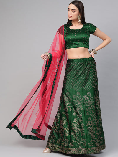 Chhabra 555 Green PInk Silk Semi-stitched Lehenga set with Intricate crystal embroidery in floral motifs