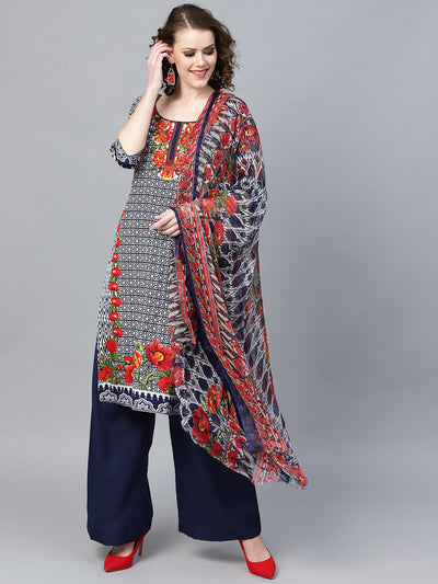 Chhabra 555 Indigo Blue Floral Printed Crepe Made-to-Measure Kurta Set with Chiffon Dupatta